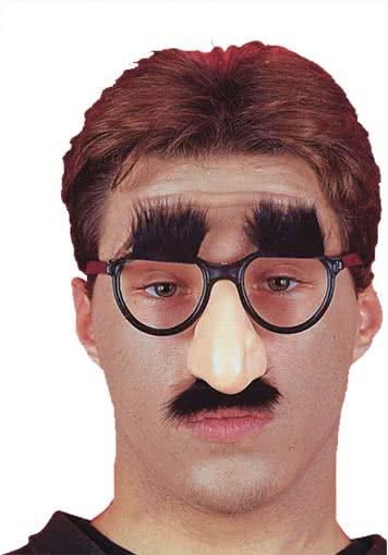 Scherznase mit Augenbrauen und Brille