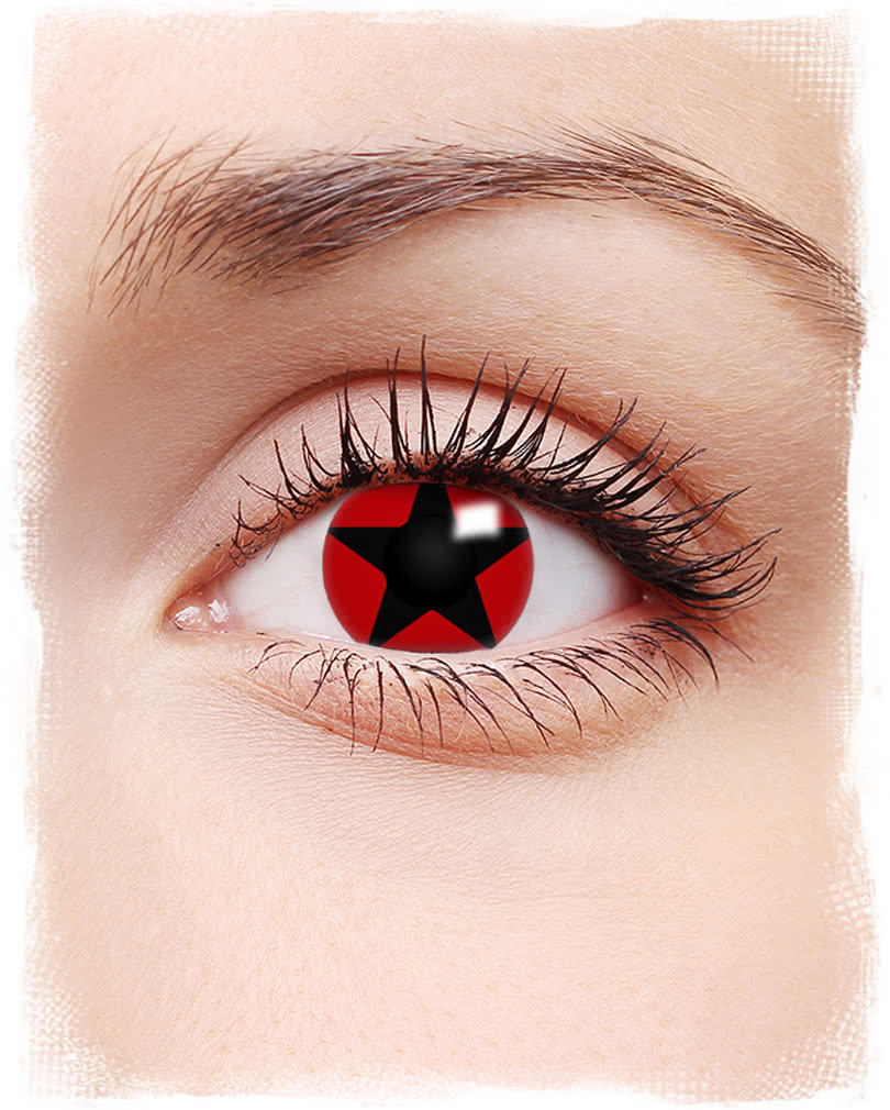 Black Star on Red Contact lens
