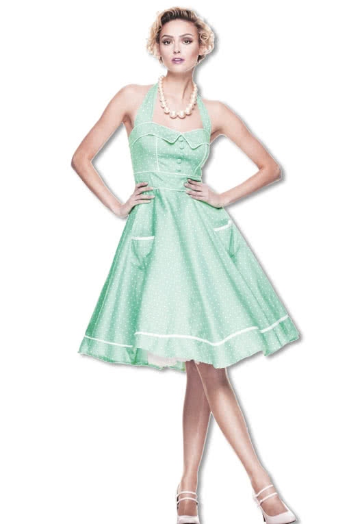 Rockabilly Kleid in Grasgrüner Farbe