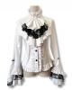 White ruffled blouse with jabot