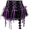 Bondage skirt with satin ribbons black purple XL / 42