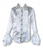 Satin shirt with ruffles white L
