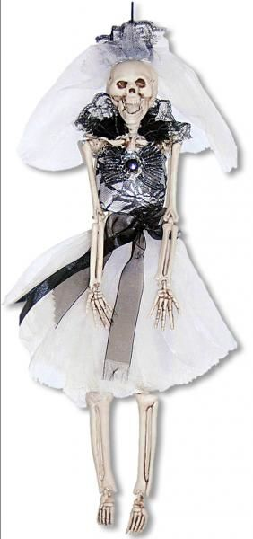 Schwarze skelettbraut h ngefigur deko skelett skelett for Halloween zimmerdeko