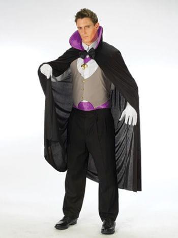 Classic Dracula Costume with Purple Collar