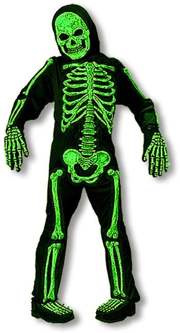 UV aktives grünes Skelett Kinderkostüm L