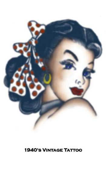 Pirate Pin Up Girl Head Tattoo