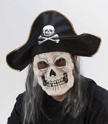 Pirate Skull Mask with Black Hat