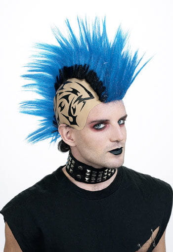 Tattoo Punk Wig Blue