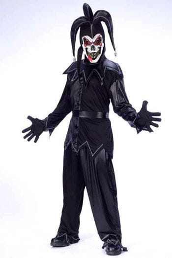 Harlequin Clown Costume Black White
