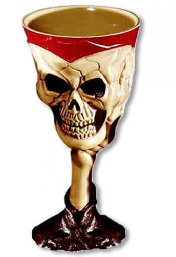 Halloween Skull Kelch Beige Rot