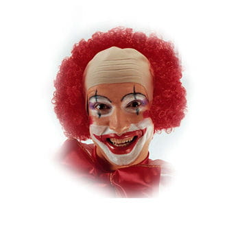 Clown bald with red curly hair