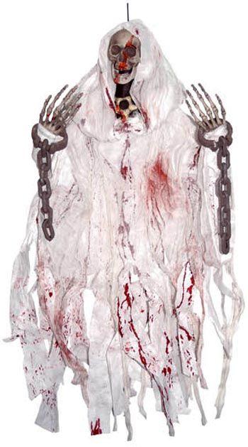 Blutiges, verrottend- und gefesseltes Hängeskelett