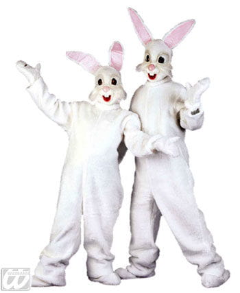 Plush white rabbit costume