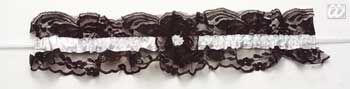 Sexy Spitzenstrumpfband schwarz/weiß
