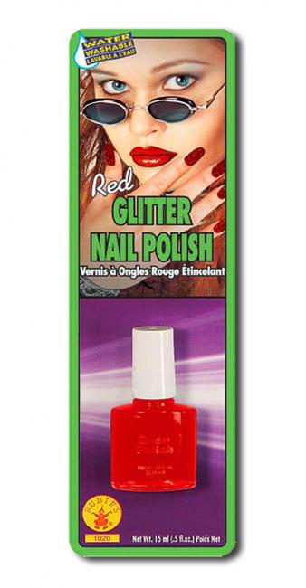 Glitter nail polish red