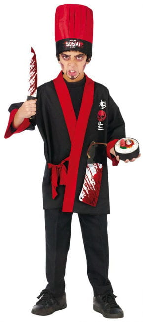 Psycho Sushi Chef Kids Costume L