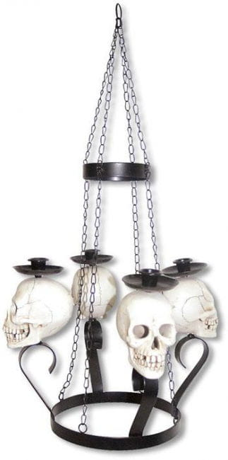 Skull candle chandelier