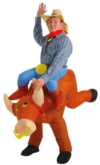 Cowboy Kostüm mit aufblasbarem Bullen