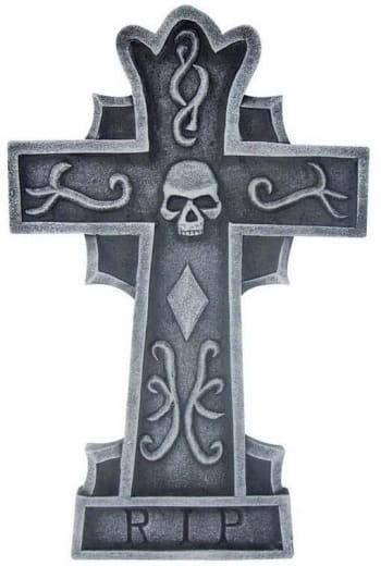 Grabsteinkreuz Skull & RIP