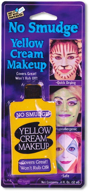Cream makeup smearing yellow