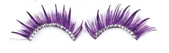 Artificial purple eyelashes with white rhinestones