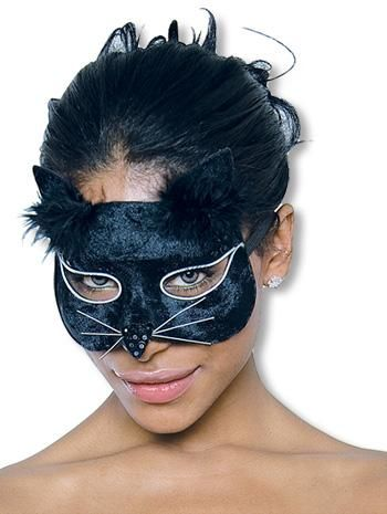 Glamour Cat Mask Black Velvet