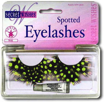 polka dots feather eyelashes green