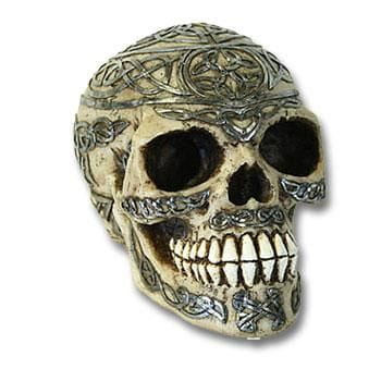 Celtic Skull Bone and Silver Coloured