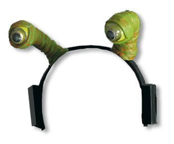 Headband with green alien eyes