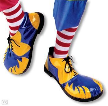 Clown shoes blue and yellow with flames