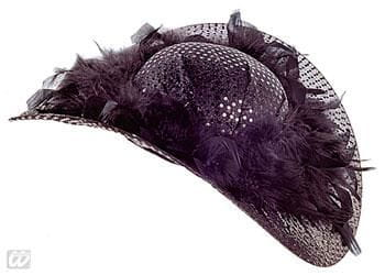 Glitter Party Hat with Feathers Black