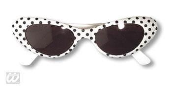 Disco Brille weiß mit Punkten