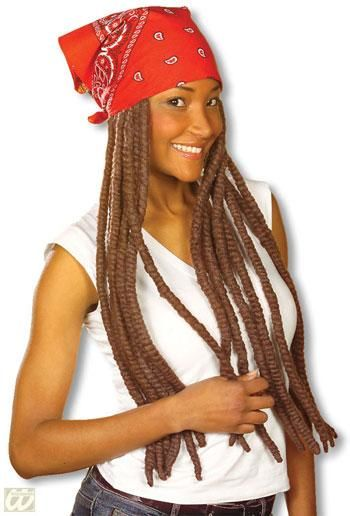 Bandana red with brown dreadlocks
