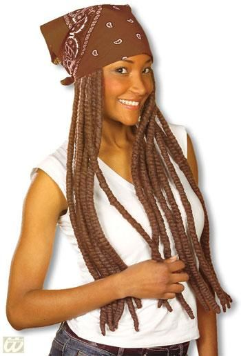 Bandana brown with brown dreadlocks