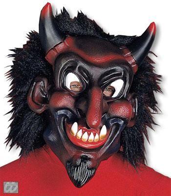Belzebub Maske mit schwarzem Haar