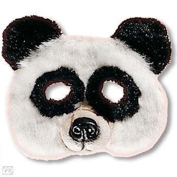 Kindermaske Pandabär mit Plüsch