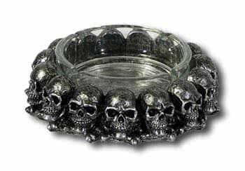 Glass ashtray with Skulls