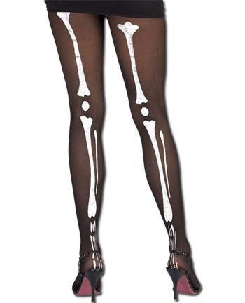 Strumpfhose mit Skelettmotiv