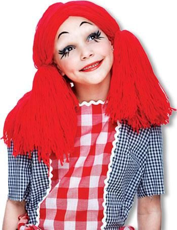 Rag Doll Child Wig Red