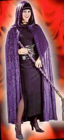 Velvet cape with purple hood