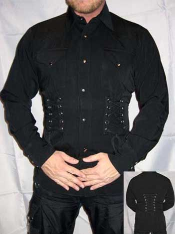 Blk. Shirt  long Strings Gr.S