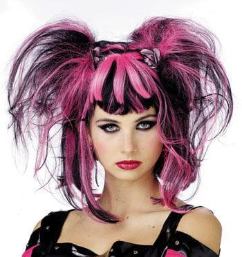 Gothic Fee Perücke Black / Pink