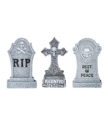 3-teiliges Grabstein Set aus Polyresin
