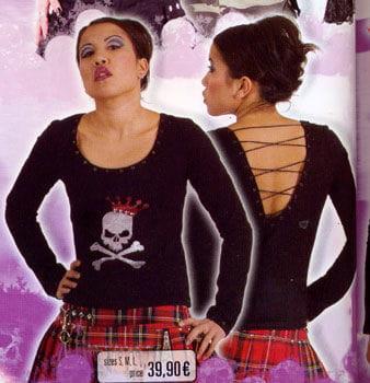 Black Shirt Skull Queen Glitter Print Size L