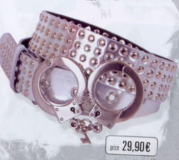 Gürtel Silber 4 Reihig Handschellenschnalle