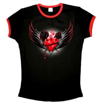 Sacred Heart T-Shirt mit roten Bündchen Gr. S