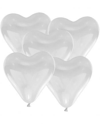White Herzluftballons 50 St.