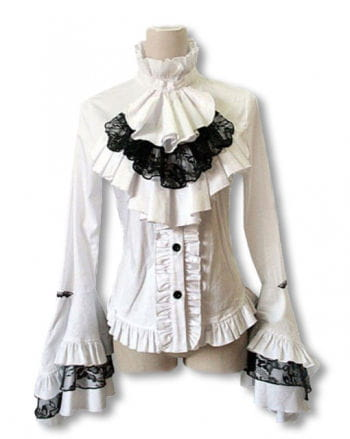 White ruffled blouse with jabot