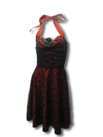 rosen kleid mit spitze rot schwarz gr m mit schwarzen. Black Bedroom Furniture Sets. Home Design Ideas
