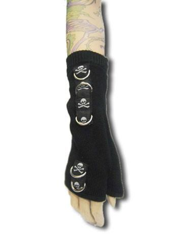 Skull Gloves Black with Grey Skulls and D-Rings